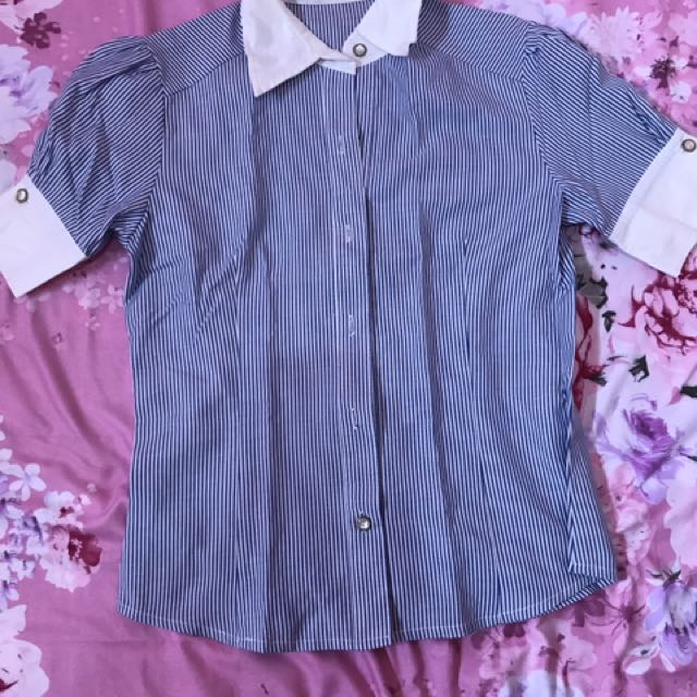 Blue Stripes Office Blouse
