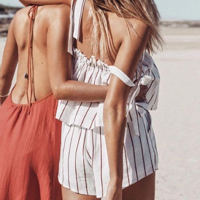 BNWT Australian Design Brodie Romper Top + Shorts Set