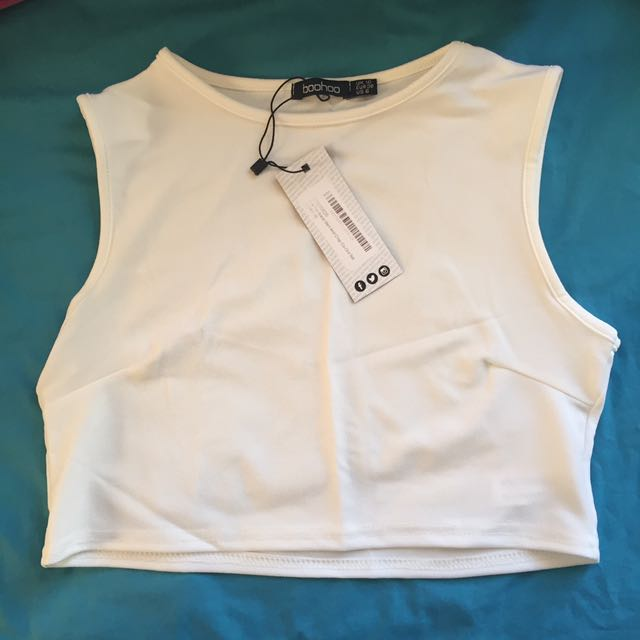 Boohoo Ivory Crop Top (with co-ord skirt)
