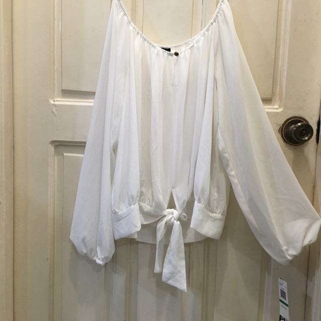 BRAND NEW XoXo White Off Shoulder Sheer Blouse