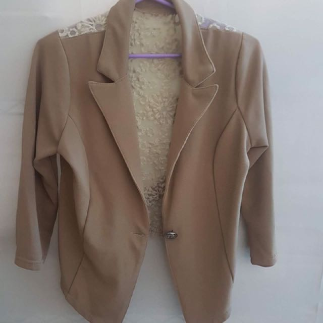 Brown Blazer with floral see-through back design