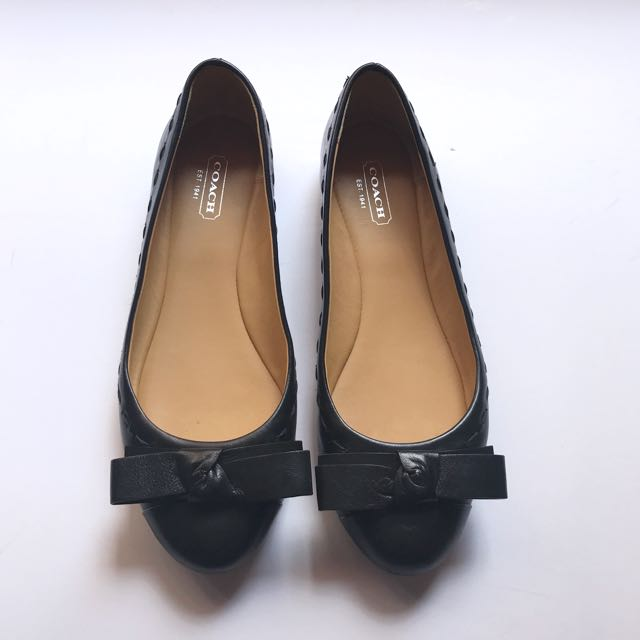 308ac3ddd90 ... sweden coach flat pumps with bow in black womens fashion shoes on  carousell b3b00 6909b