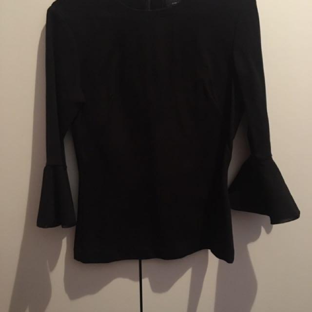 CUE - Black Three Quarter Sleeve Top - Size 6
