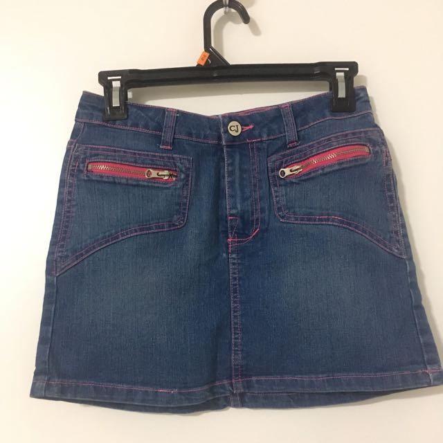 Denim Skirt With Pink Stitching