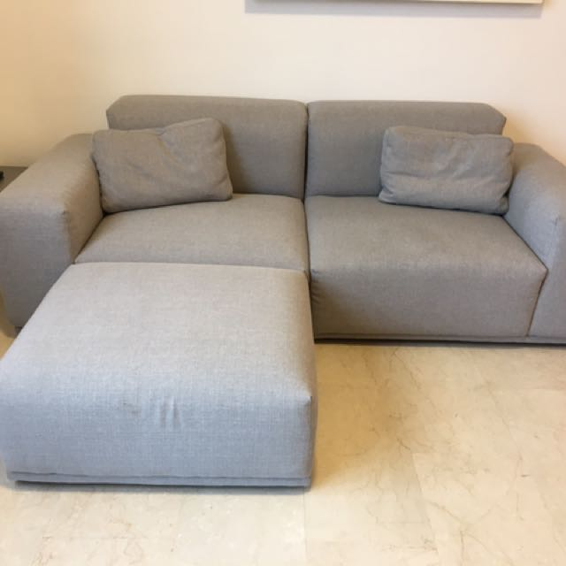Designer Castlery Todd Sofa + Ottoman (Light Grey)   Like New, Furniture,  Sofas On Carousell