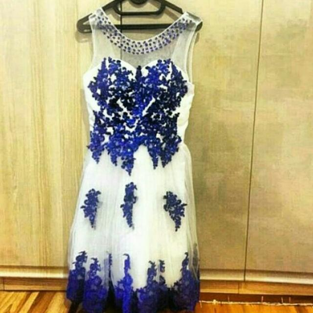 Embroidery Blue Party Dress