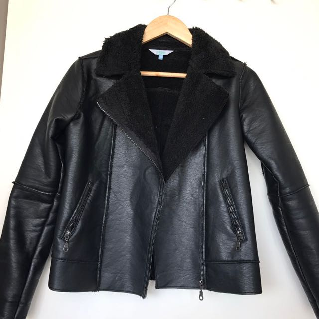 Faux Filled Leather Jacket