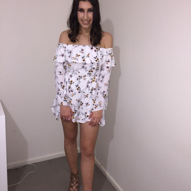 Floral/White Playsuit Off The Shoulder