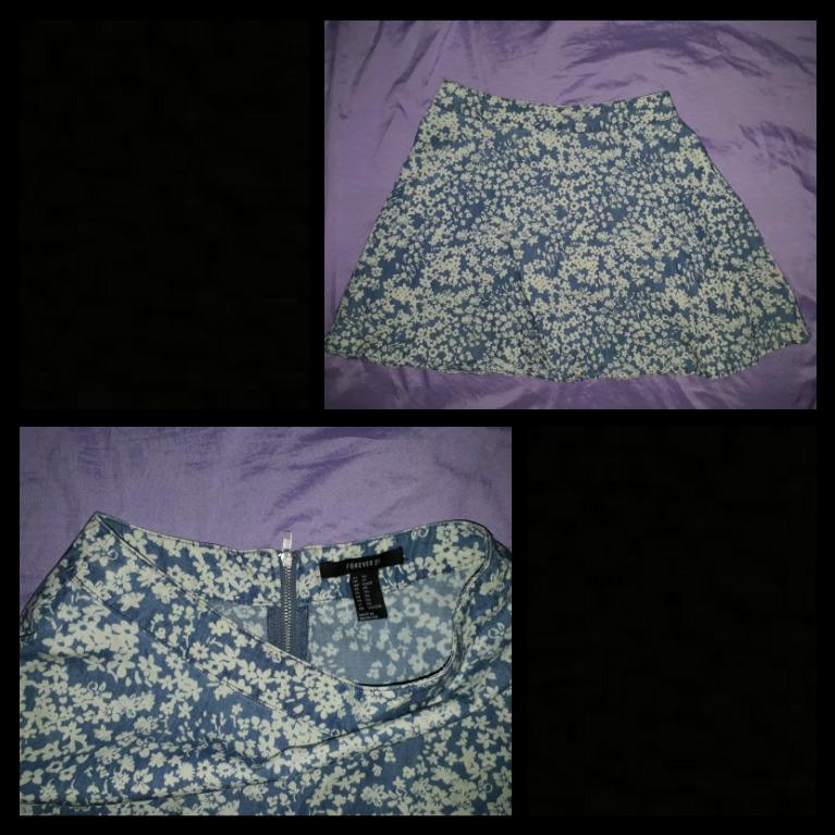 Forever21 printed soft denim skirt