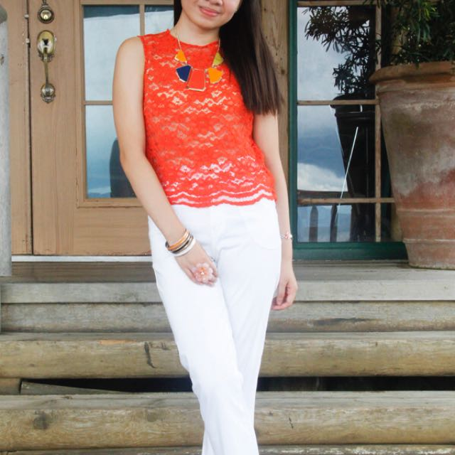 Forever 21 Orange Laced Top