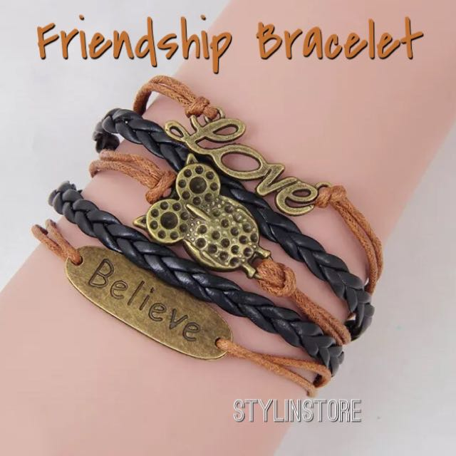 Friendship Leather Bracelet (Owl+Love+Believe Design)