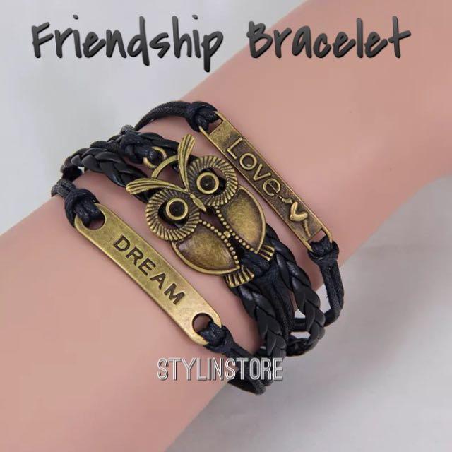 Friendship Leather Bracelet (Owl+Love+Dream Design)