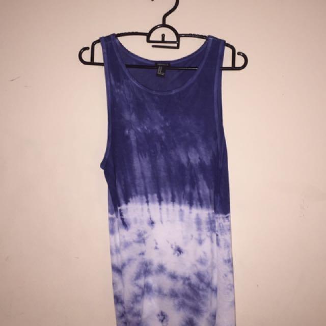 FXXI Blue Tie-Dye Tank Top
