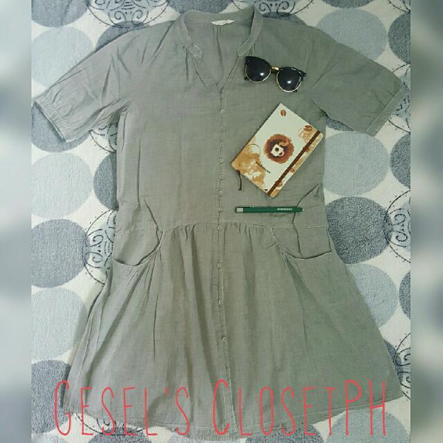 Gray Button-down Dress