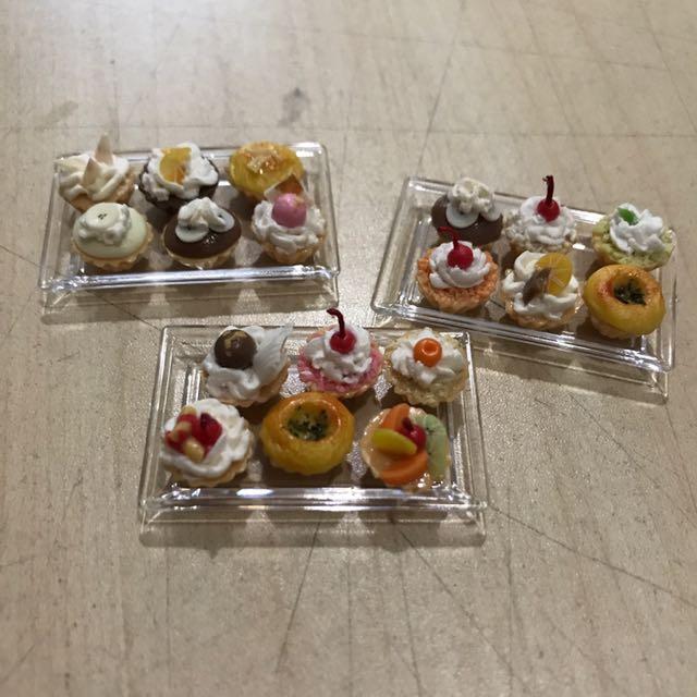 Handmade Miniature 6 Cupcakes On Acrylic Tray @ $6.50 Each Set