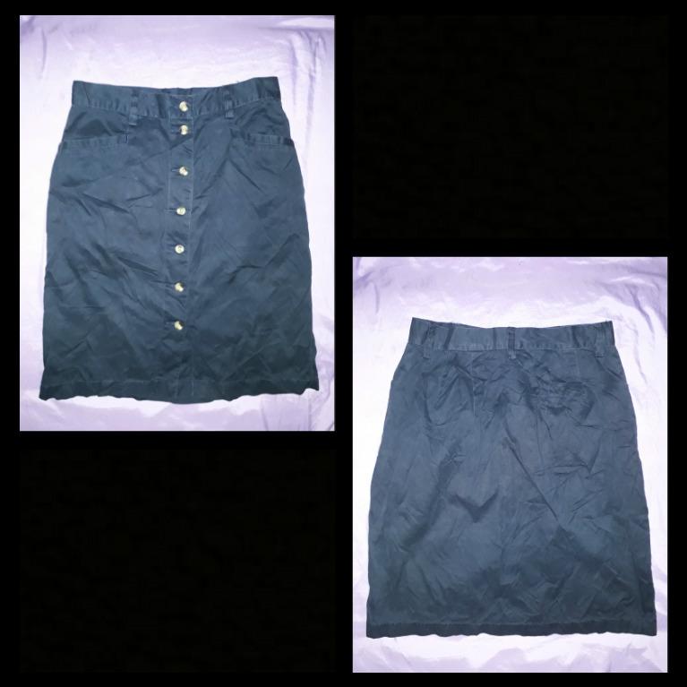 High waist, knee-length button down skirt