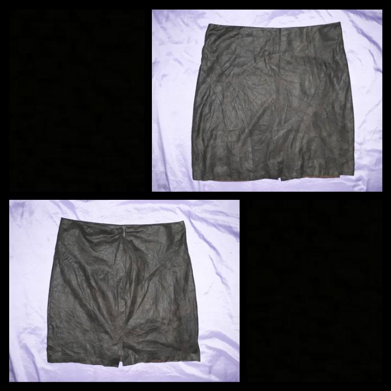 High waist soft brown leather skirt