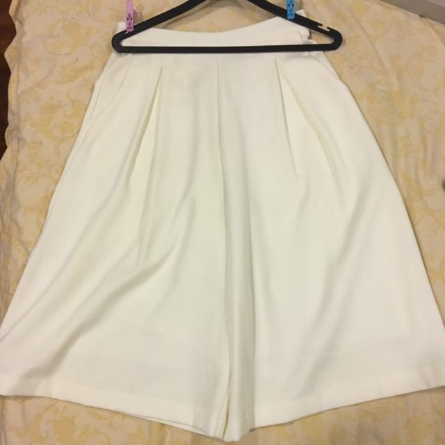 High Waisted White Culottes