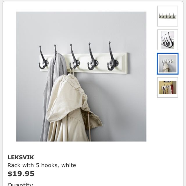 IKEA LEKSVIK Rack with 5 hooks, white 五掛鉤(白色)