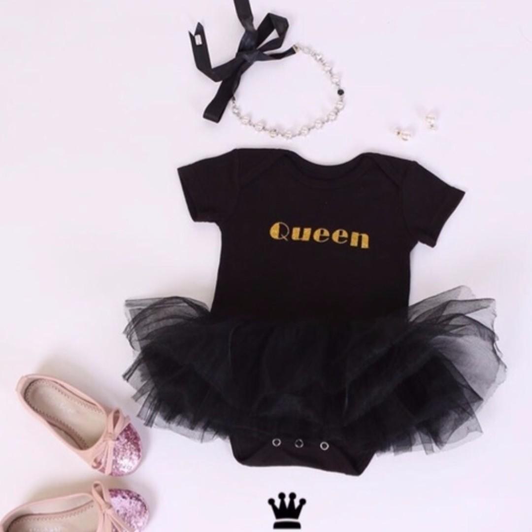 c5592e9af 🌟INSTOCK🌟 Crown Queen Kids onesie Baby Romper Frock Tulle for ...