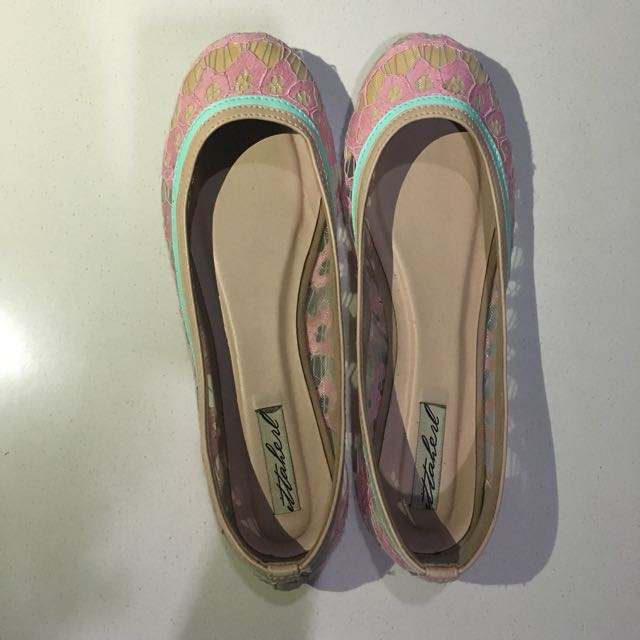Ittaherl Flat Shoes Embroided Pink Size 38
