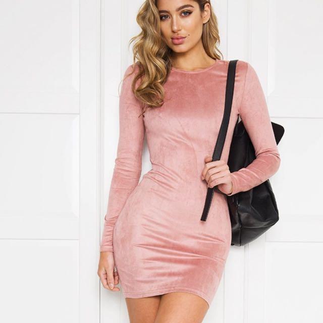 Light Pink Velvet Solace Dress