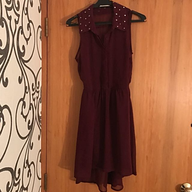 Maroon Chiffon High-low Dress