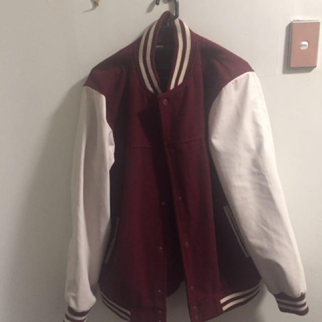 Maroon/white Letterman Jacket