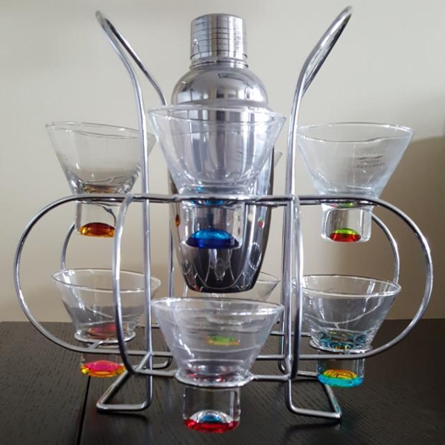 Martini Glassware Set (8) With S/S Shaker