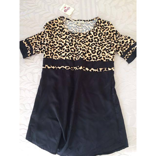 Matt Black & Leopard Dress