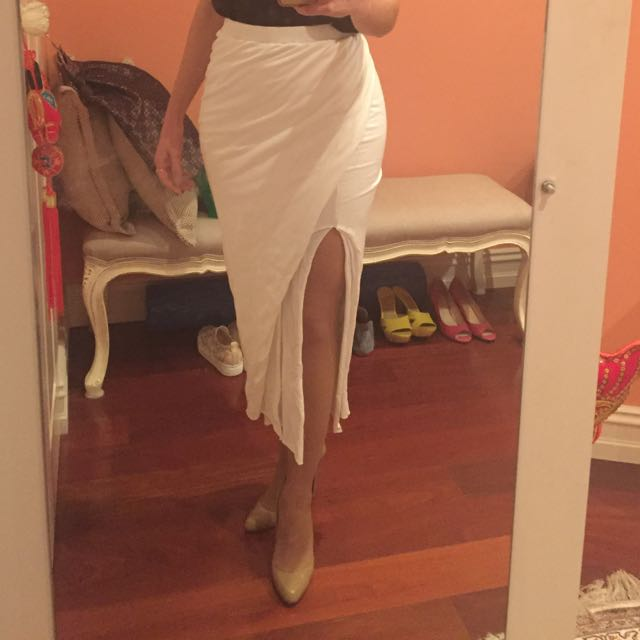 Maurie And & Eve White Cotton Skirt 8