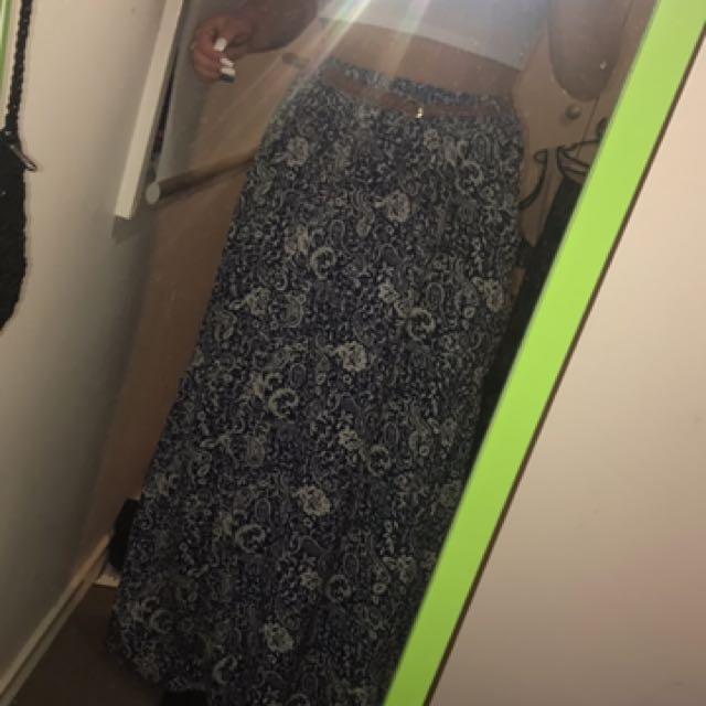 Maxi Skirt With Tan Belt