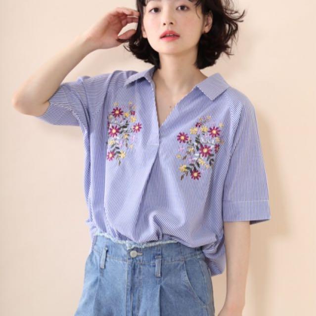 日貨Mayumi刺繡條紋襯衫 Kiki Yabbi Dobe Shin Yourz