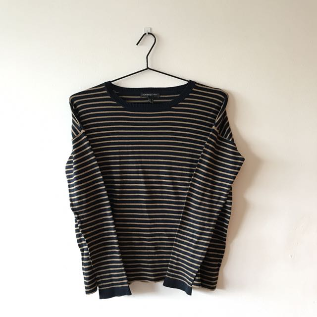 Navy Blue/Gold Striped Sweater