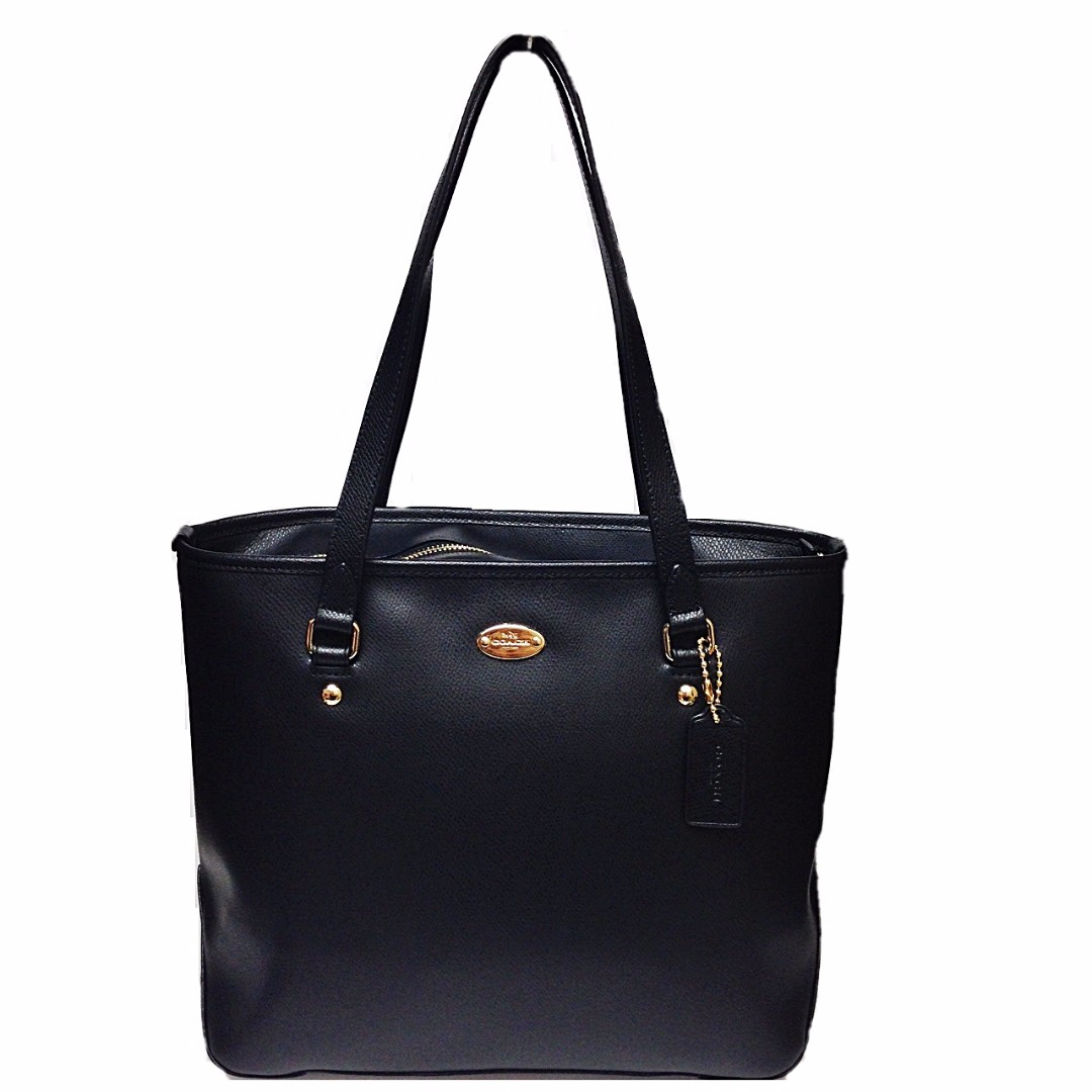 NEW AND AUTHENTIC COACH F35204 CROSSGRAIN ZIP TOTE LEATHER BLACK
