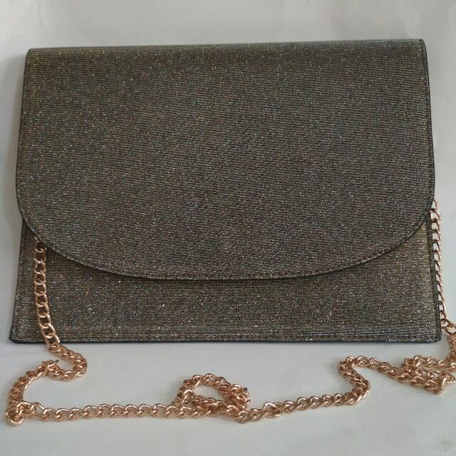 New Look Gold Chain Clutch Free Ongkir*