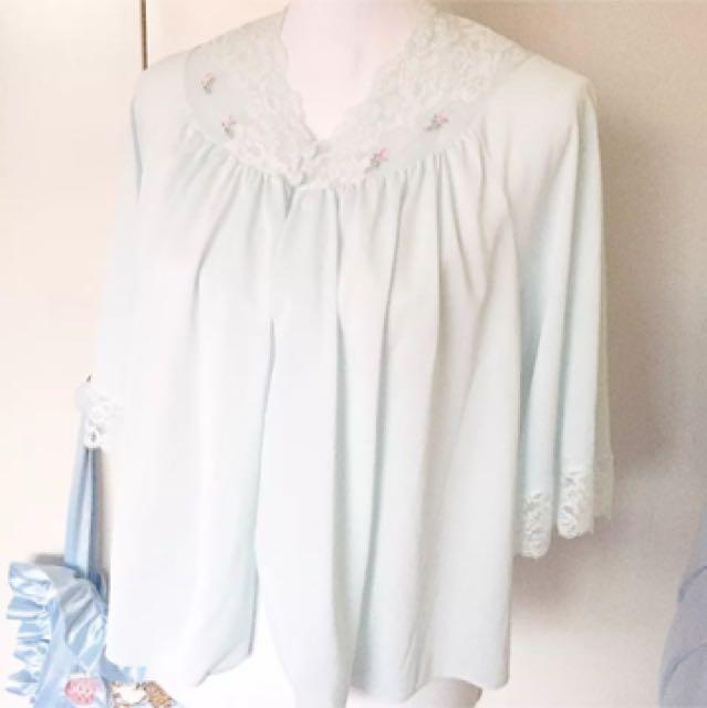 Pastel Baby Blue Rosette Lace Bed Jacket Vintage