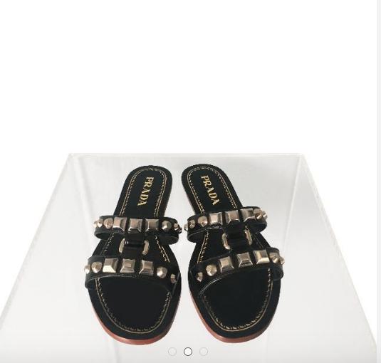 b51bcf4ab Prada Studded H Strap Flat Sandals