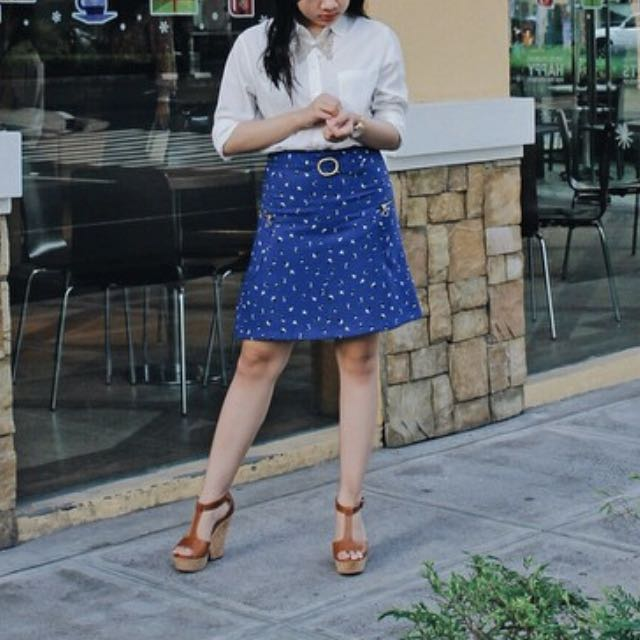 Promod Printed Skirt With Buckle