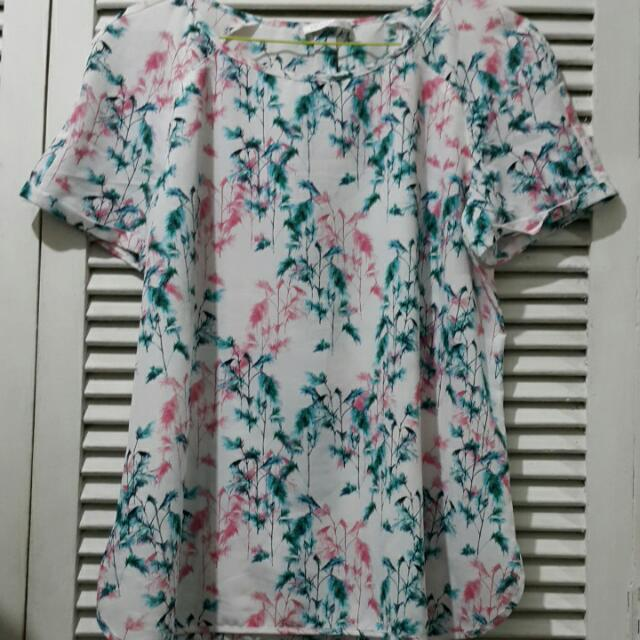 Promod Tropical Plant Print Top