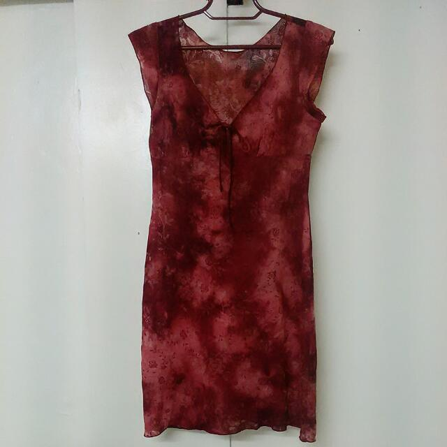 Red Floral Dress For Plus Size Ladies