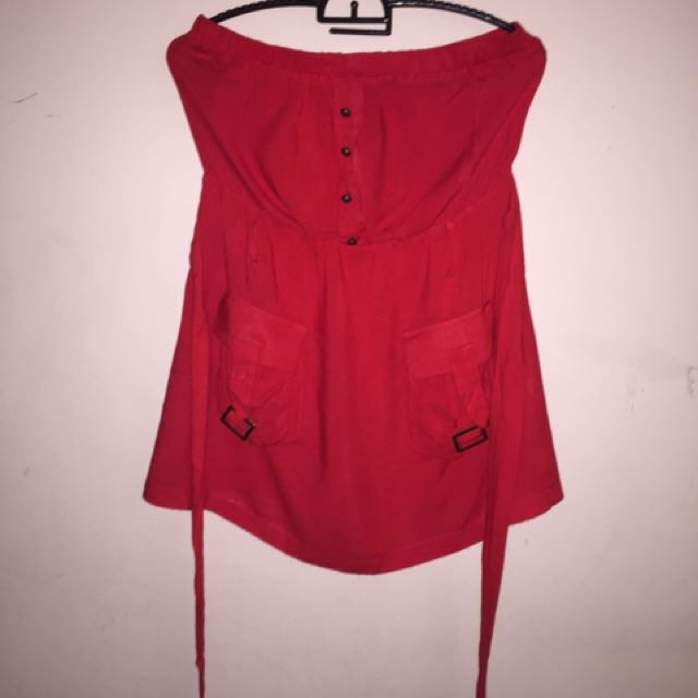 Red Heartbeat Sleeveless Dress Top