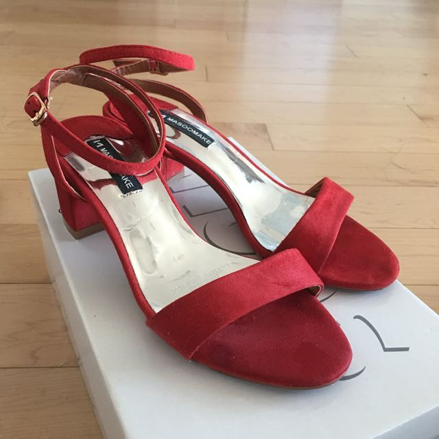 Red Suede Mid Heels (size US 6)