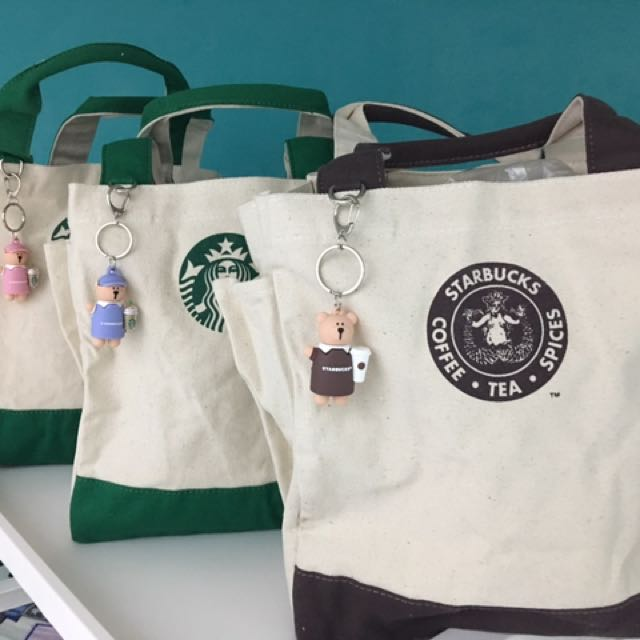 Starbucks Tote Bag With Mini Bearista Keychain 3 Types Available On Carou