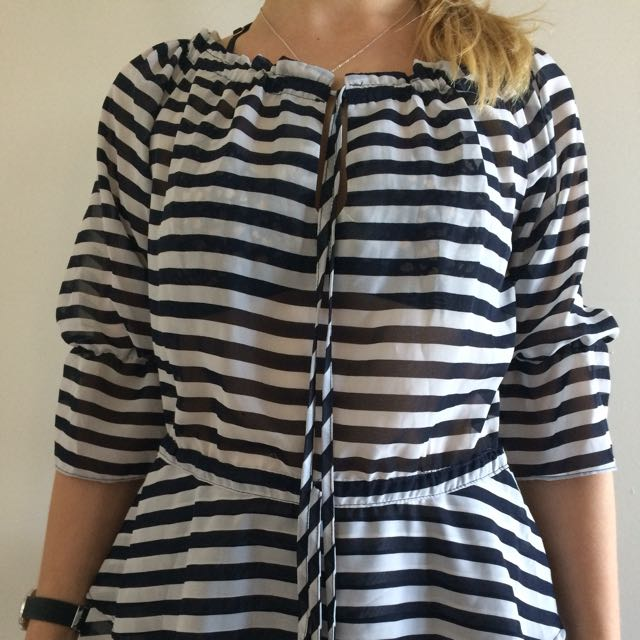 Striped Mid Sleeve Top