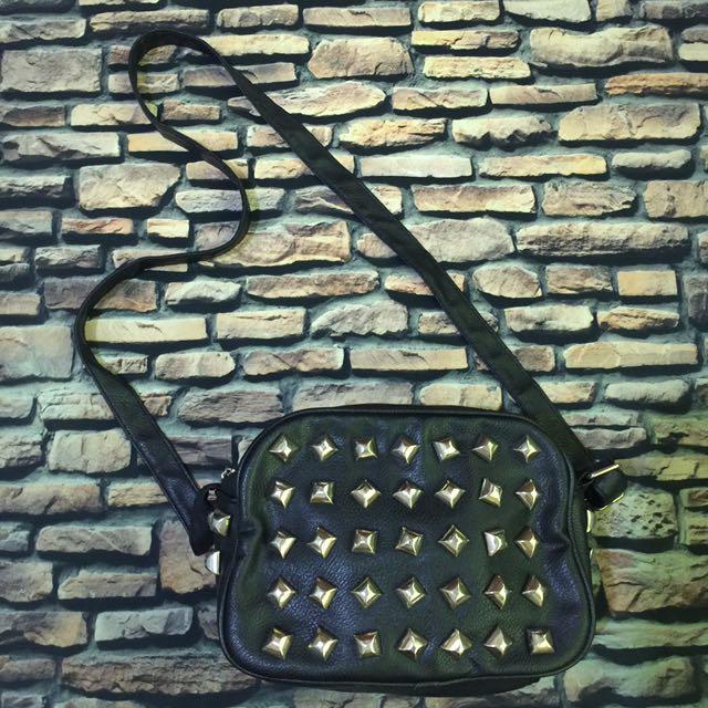 Studded Black & Gold Body Bag
