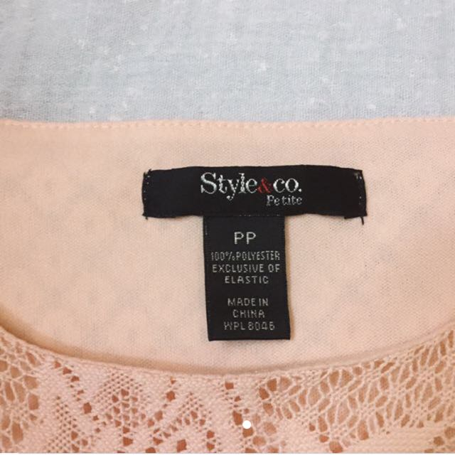 Style&co. Knitted Chiffon Peach Top