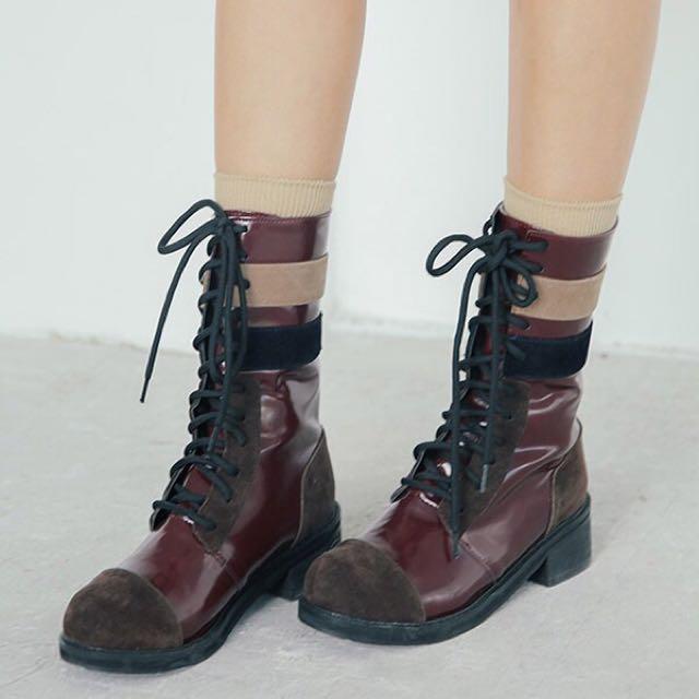 STYLENANDA|3CE 拼接高筒馬丁靴短靴