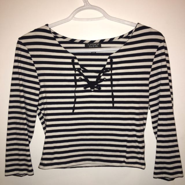 Topshop Striped Lace Up Shirt