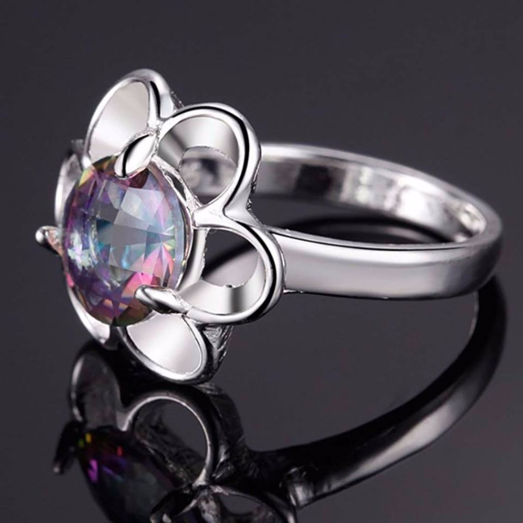 UNIQUE 6ct Sunflower Blue Rainbow Mystic Ring (CLEARANCE)